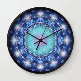 Flower Of Life Mandala Fractal turquoise Wall Clock