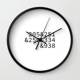 Alabama Area Codes Wall Clock