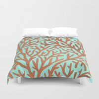 copper Duvet Covers featuring Copper Coral by Cat Coquillette