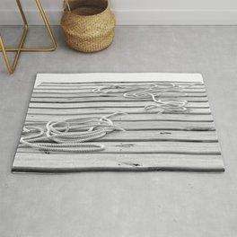 dock, black and white Rug