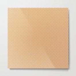 Bright Orange Russet and White Mini Check 2018 Color Trends Metal Print