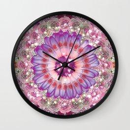 pink love daisy Wall Clock