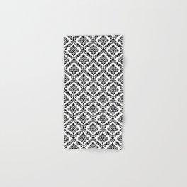 Prima Damask Pattern Black on White Hand & Bath Towel