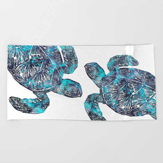 Sea Turtle Blue Watercolor Art Beach Towel