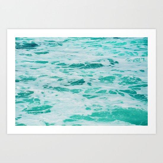 teal waves Art Print