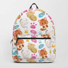 Pattern Of Cats, Colorful Cats, Cat Bowls, Paws Backpack
