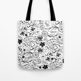 Stylish abstract brush strokes and floral doodles design Tote Bag