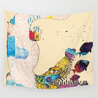 crocodile Wall Tapestries featuring Crocodile by DON'T NEED NO SAMURAI