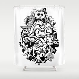 Adventure history of crazy monsters. Shower Curtain