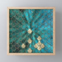 Multicolor Aqua And Gold Mermaid Scales -  Beautiful Abstract Pattern Framed Mini Art Print