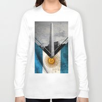 argentina Long Sleeve T-shirts featuring Flags - Argentina by Ale Ibanez