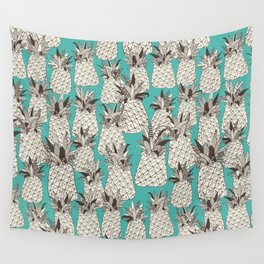 pineapple turquoise sea Wall Tapestry