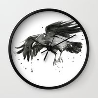 raven Wall Clocks featuring Raven by Olechka