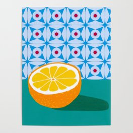 Fruit with Wallpaper (orange) Poster