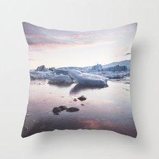 Sunset over Glacier Lagoon Throw Pillow