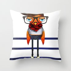 Hipster Bird Throw Pillow