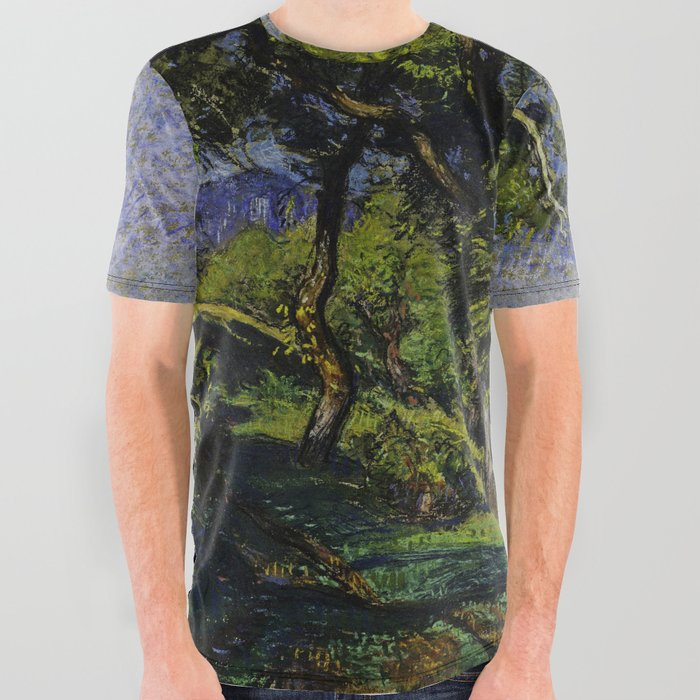 Chestnut Trees above a River All Over Graphic Tee