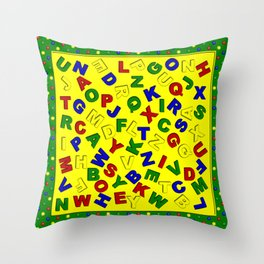 Primary Polka Dots GREEN Alphabet Throw Pillow