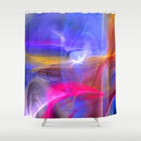olivia joy Shower Curtains featuring Joy by haroulita