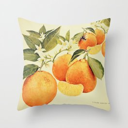 Oranges and their blossoms Throw Pillow