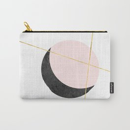 Pink Moon, Contemplation, Full Moon, Faux Gold Lines, Pink Black White Carry-All Pouch