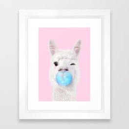 BUBBLE GUM LLAMA Framed Art Print
