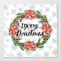 merry christmas Canvas Prints featuring Merry Christmas by Julia Badeeva