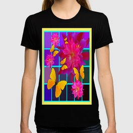 Decorative  Yellow Butterflies Pink-Purple Floral Abstract T-shirt