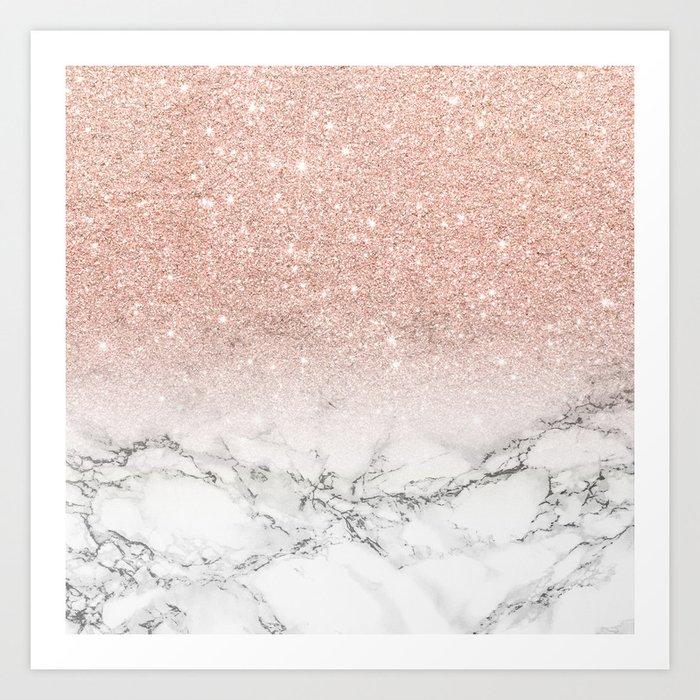 Modern faux rose gold pink glitter ombre white marble Kunstdrucke