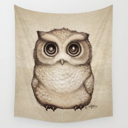 """""""The Little Owl"""" by Amber Marine ~ Graphite & Ink Illustration, (Copyright 2016) Wall Tapestry"""