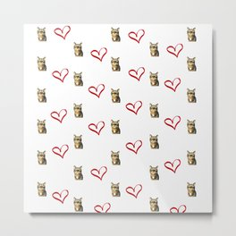 Polka heart kitty Metal Print