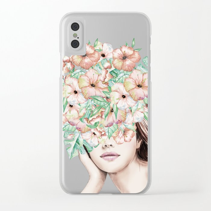 She Wore Flowers in Her Hair Island Dreams Clear iPhone Case