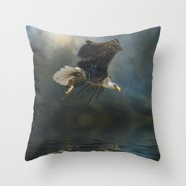 Bald Eagle Fishing Throw Pillow