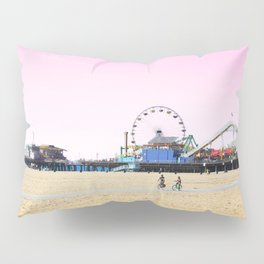 Santa Monica Pier with Ferries Wheel and Roller Coaster Against a Pink Sky Pillow Sham