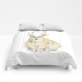 Watercolor Grumpy Jackalope Antler Bunny Comforters