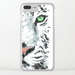 White Lion Triangles Clear iPhone Case