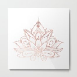 Boho Lotus Rose Gold Metal Print