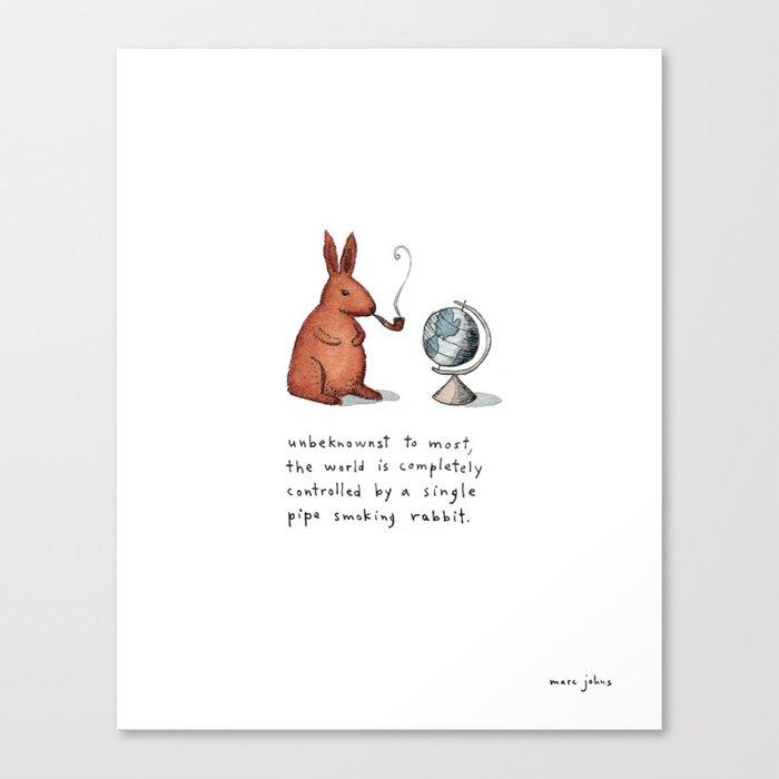 Pipe-smoking rabbit Canvas Print