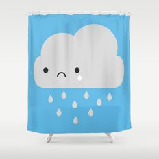 Sad Kawaii Rain Cloud Shower Curtain