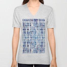 Shibori Braid Vivid Indigo Blue and White Unisex V-Neck