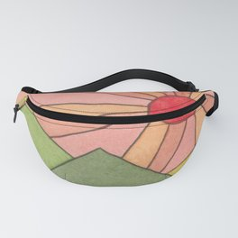 Mountain Sunrise - Watercolor Painting Fanny Pack