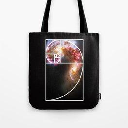 Fibonacci Spiral Galaxy Tote Bag