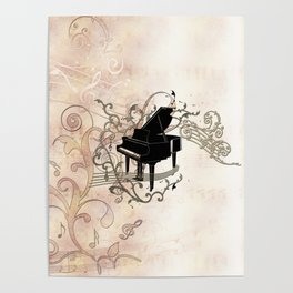 Music, piano with key notes and clef Poster