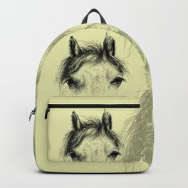 Horse animal head eyes ink drawing illustration. Mammal face portrait Backpack