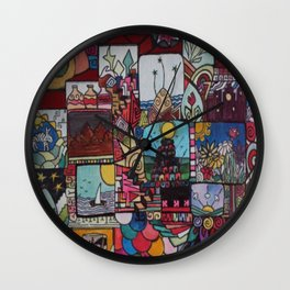 Square doodles Wall Clock