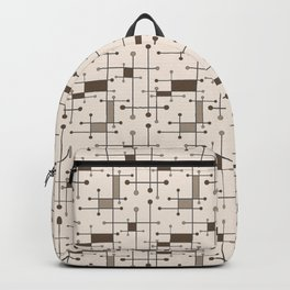 Intersecting Lines in Cream, Tan and Brown Backpack
