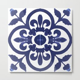 Talavera Classic Blue and White Flower Bud Metal Print