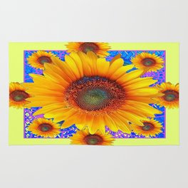 Decorative Yellow Sunflowers Purple-Blue Geometric Pattern Rug
