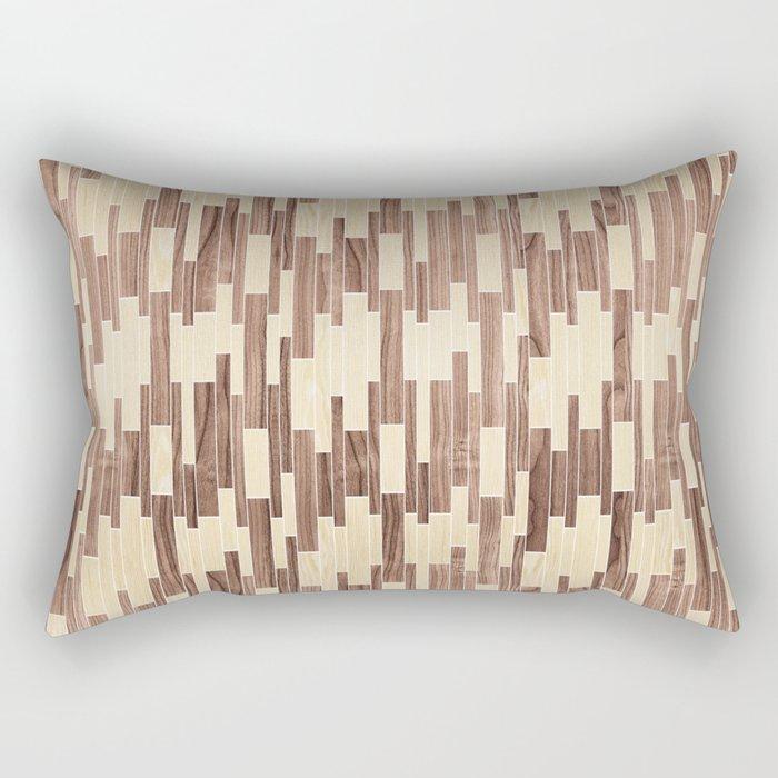 tile white oak + walnut Rectangular Pillow