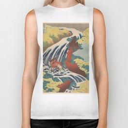 Yoshino Waterfalls Where Yoshitsune Washed his Horse by Katsushika Hokusai Biker Tank